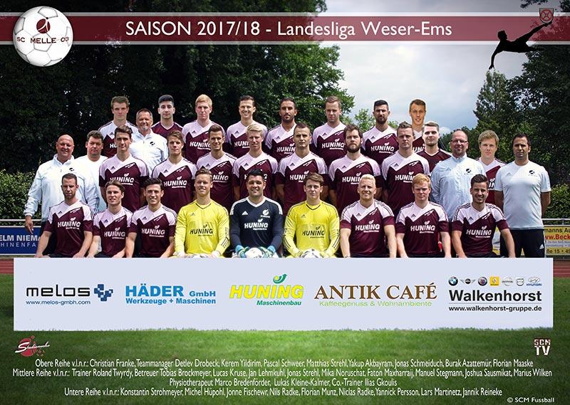 SC Melle 03 - Fussball Landesliga Mannschaftsfoto erste Herren