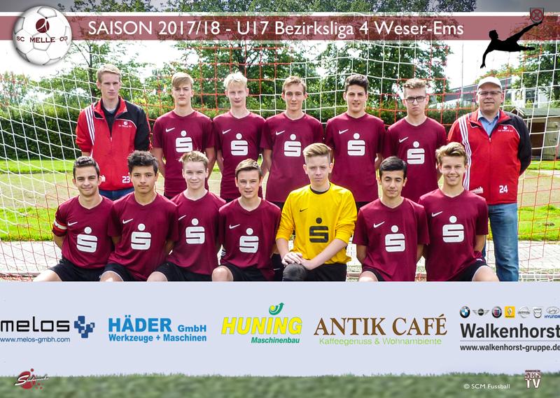 SC Melle 03 - Fussball Bezirksliga 4 Weser-Ems Mannschaftsfoto U17 - B-Jugend