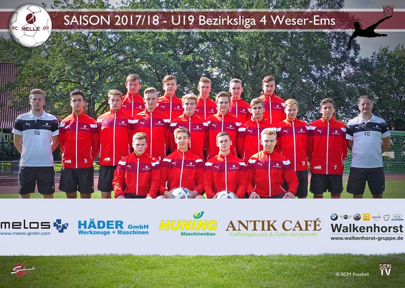 SC Melle 03 - Fussball Bezirksliga 4 Weser-Ems Mannschaftsfoto U19 - A-Jugend