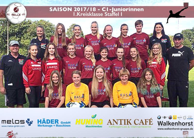 Fussball U15 1. Kreisklasse Staffel 1 - SC MELLE 03 C1-Juniorinnen Mannschaftsfoto 2017 - 2018