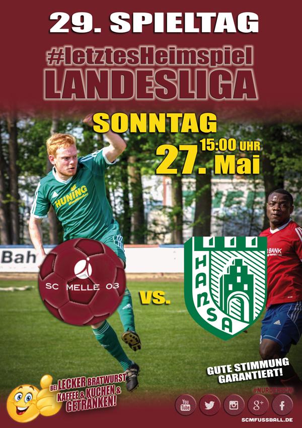 Spieltag 29 Fußball Landesliga Weser-Ems 17/18 SC MELLE 03 gegen SV Hansa Friesoythe