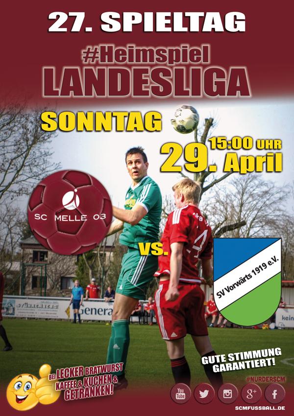 Spieltag 27 Fußball Landesliga Weser-Ems 17/18 SC MELLE 03 gegen SV Vorwärts Nordhorn